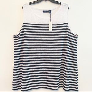 Adrienne Vitadini Linen Sleeveless Striped Top 3X